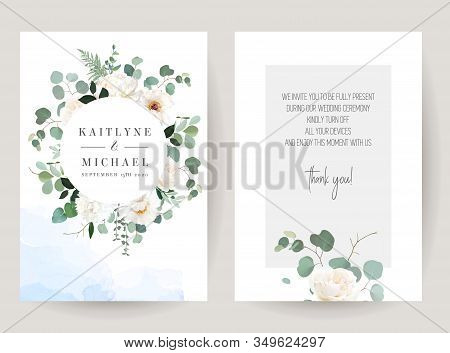 Ivory White Rose, Peony, Chrysanthemum, Ranunculus, Greenery And Eucalyptus Leaves Vector Design Fra
