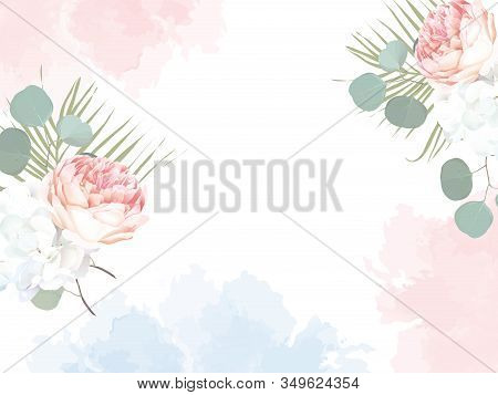 Trendy Simple Flat Lay Design Vector Blog Background. Pink Garden Rose, Palm Leaves, White Hydrangea
