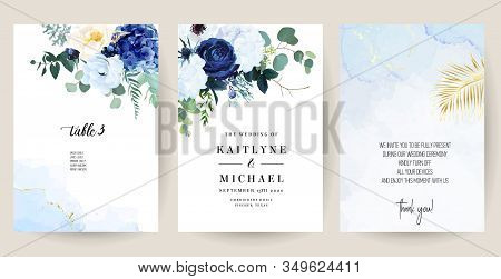 Classic Blue, White Rose, White Hydrangea, Ranunculus, Anemone, Thistle Flowers, Greenery And Eucaly