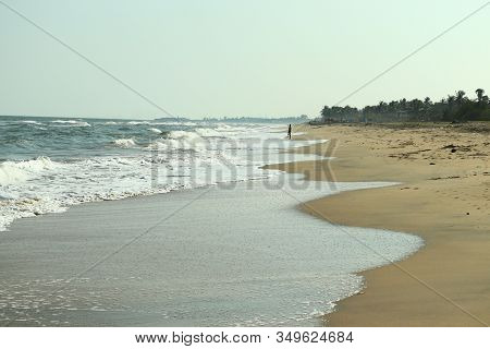 Landscape Of White Wave On Blue Beach And Clear Sky With Forest Tree And Coastline Backgrounds, Chen