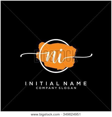 Ni Initial Handwriting Logo Design With Brush Circle. Logo For Fashion,photography, Wedding, Beauty,