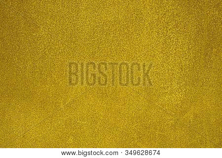 Yellow Metal Texture With Scratches And Cracks. Weathered Steel Textur. Close-up Rusty Metal Sheet B