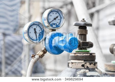 Close Up Of Pressure Gauges On Oxygen Tank With Valve Of Welding Equipment Acetylene Gas Cylinder Fo