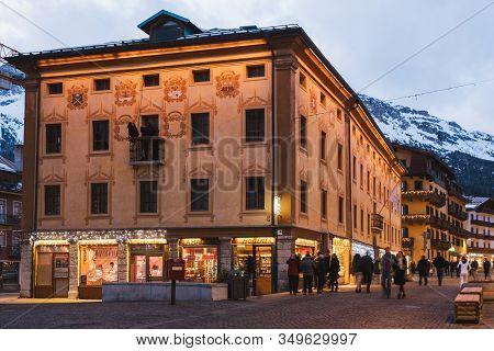 Cortina D Ampezzo, Italy - February 3 2020: Palazzo Comun Vecio, A Historic Building On Corso Italia