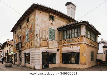 Cortina D Ampezzo, Belluno, Italy - February 5 2020: Ciasa Dei Pupe Historic Bulding In Cortina D Am