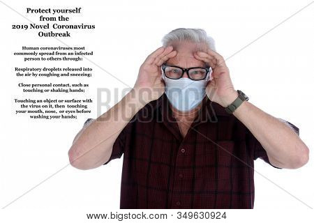 2019 Novel Coronavirus. 2019-nCoV. Wuhan, China 2019 Novel Coronavirus. A man wearing a paper mask is scared of contracting the CORONAVIRUS. Room for text. Coronavirus info is replaceable with yours