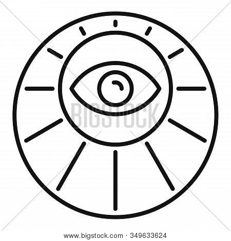 Sunny Eye Alchemy Icon. Outline Sunny Eye Alchemy Vector Icon For Web Design Isolated On White Backg