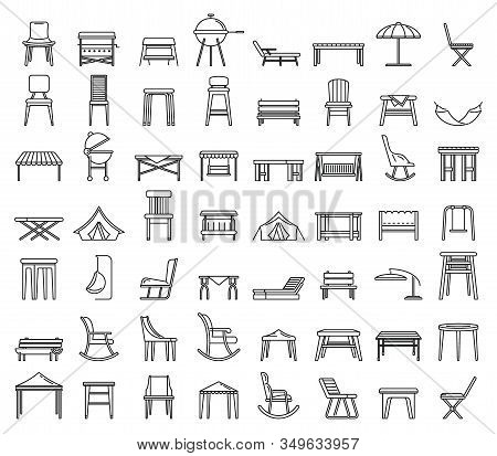 Outdoor Garden Furniture Icons Set. Outline Set Of Outdoor Garden Furniture Vector Icons For Web Des