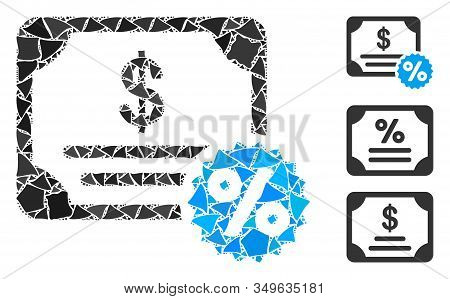 Glowing White Mesh Bond Coupon With Sparkle Effect. Abstract Illuminated Model Of Bond Coupon. Shiny