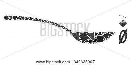 Glossy White Mesh Empty Spoon With Glare Effect. Abstract Illuminated Model Of Empty Spoon. Shiny Wi