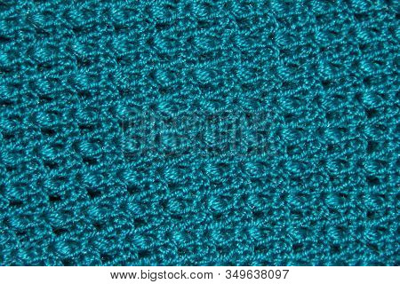Texture Of Blue Binding In Holes. Knitted Pattern. Original Binding Of The Canvas. Emerald Braided B