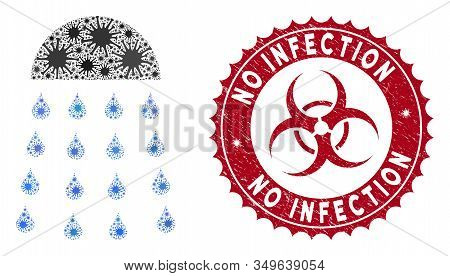 Coronavirus Mosaic Spray Stream Icon And Round Rubber Stamp Seal With No Infection Phrase. Mosaic Ve