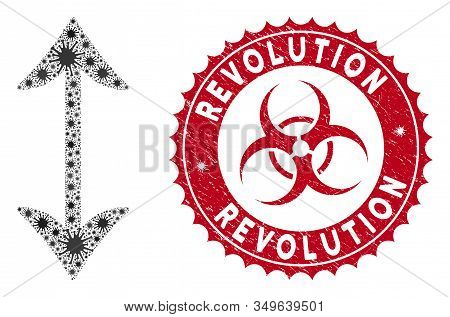 Coronavirus Mosaic Swap Vertically Icon And Round Rubber Stamp Seal With Revolution Text. Mosaic Vec