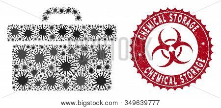Coronavirus Mosaic Toolbox Icon And Rounded Rubber Stamp Watermark With Chemical Storage Text. Mosai