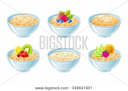 Oat Bowl. Oatmeal Breakfast Cup, Oat Grain Porridge With Fruit, Berry, Milk. 3d Realistic Icon. Cart