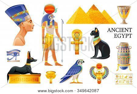Ancient Egypt Icon Set. 3d Ra Sun God, Nefertiti, Cleopatra Queen, Pharaoh Pyramid, Lotus Vase, Eye,