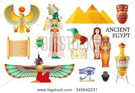 Ancient Egypt Icon Set. Pharaoh Osiris, Isis Queen Wings, Pyramid, Pot, Vase, Mummy, Coptic Eye, Hea