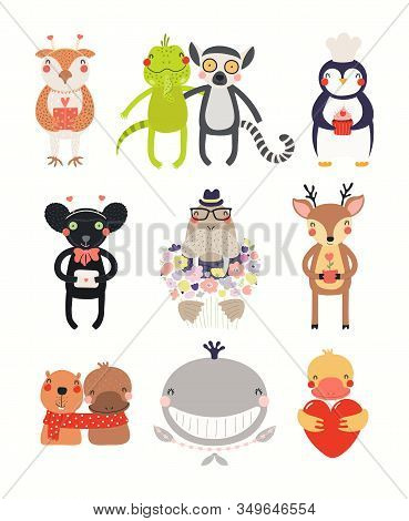 Big Valentines Day Set With Cute Animals, Hearts, Gift, Flowers. Isolated Objects On White Backgroun