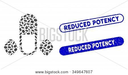 Collage Male Power Pills And Grunge Stamp Seals With Reduced Potency Caption. Mosaic Vector Male Pow