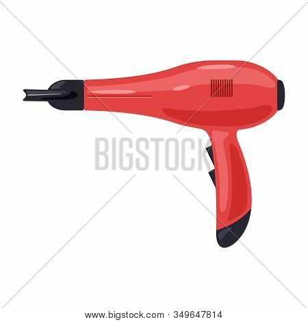 Red Hairdryer For Home, Hotel, Hairdressing Salon, Barber Shop. Blowdryer Designed To Blow Cool Or H