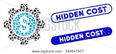 Mosaic Financial Options Gear And Distressed Stamp Watermarks With Hidden Cost Caption. Mosaic Vecto