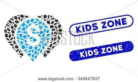 Mosaic Money Map Markers And Distressed Stamp Seals With Kids Zone Phrase. Mosaic Vector Money Map M