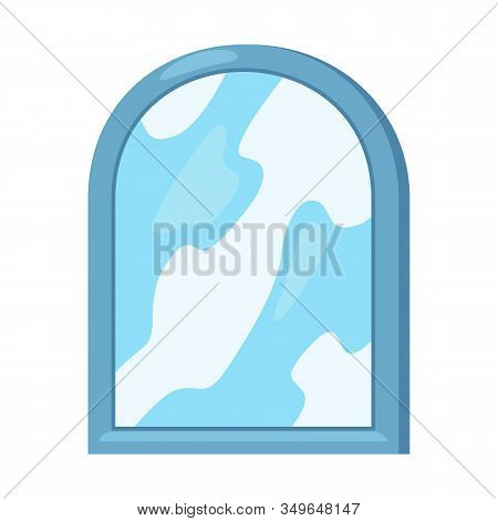 Blue Frame Mirror With Shelf Where Are Violet Glass, Yellow And Red Toothbrushes, Bottle With Pump.