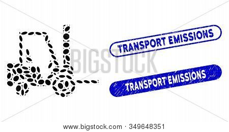 Mosaic Fork Lift Truck And Distressed Stamp Seals With Transport Emissions Caption. Mosaic Vector Fo