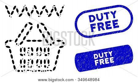 Mosaic Web Shop Basket And Grunge Stamp Seals With Duty Free Phrase. Mosaic Vector Web Shop Basket I
