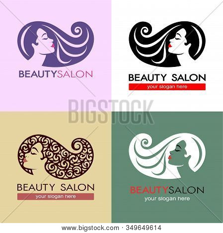 Set Of Hair Salon Logotype. Woman Silhouette. Isolated Icon For Beauty Studio, Hairdresser Salon, Sp