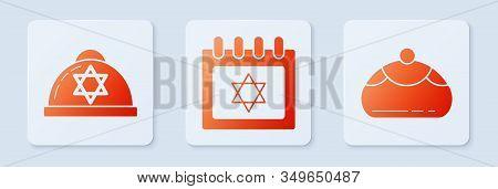 Set Jewish Calendar With Star Of David, Jewish Kippah With Star Of David And Jewish Sweet Bakery. Wh