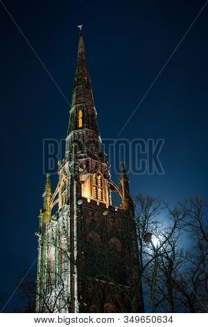 Gothic View Of Coventry Cathedral With Moon Light, Midlands, Uk