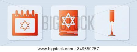 Set Jewish Torah Book, Jewish Calendar With Star Of David And Jewish Goblet. White Square Button. Ve