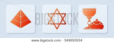 Set Star Of David, Egypt Pyramids And Jewish Goblet And Hanukkah Sufganiyot. White Square Button. Ve