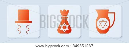 Set Jewish Money Bag With Star Of David, Orthodox Jewish Hat With Sidelocks And Decanter With Star O