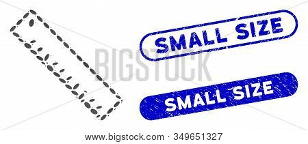 Mosaic Length Ruler And Grunge Stamp Seals With Small Size Text. Mosaic Vector Length Ruler Is Forme