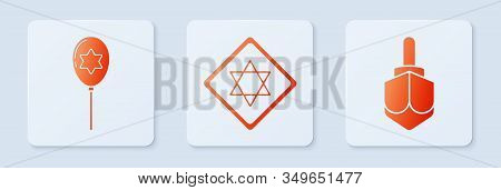 Set Star Of David, Balloons With Ribbon With Star Of David And Hanukkah Dreidel. White Square Button