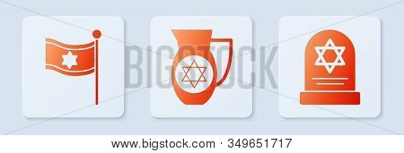Set Decanter With Star Of David, Flag Of Israel And Tombstone With Star Of David. White Square Butto