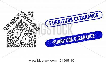 Mosaic Mortgage Discount And Distressed Stamp Seals With Furniture Clearance Text. Mosaic Vector Mor