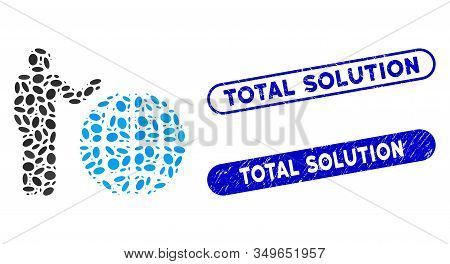 Mosaic Global Marketing And Rubber Stamp Seals With Total Solution Phrase. Mosaic Vector Global Mark