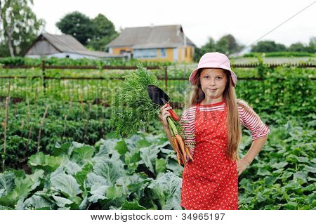 Girl Working In Garden