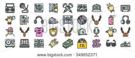 Hiphop Icons Set. Outline Set Of Hiphop Vector Icons For Web Design Isolated On White Background