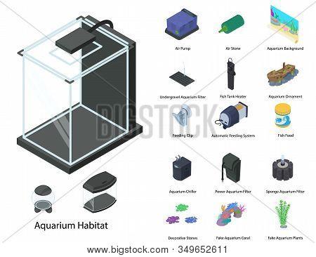 Aquarium Icons Set. Isometric Set Of Aquarium Vector Icons For Web Design Isolated On White Backgrou