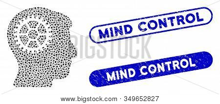 Mosaic Intellect Cog And Grunge Stamp Seals With Mind Control Phrase. Mosaic Vector Intellect Cog Is