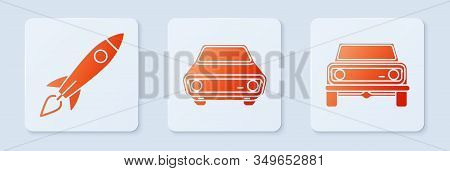 Set Car, Rocket Ship With Fire And Off Road Car. White Square Button. Vector