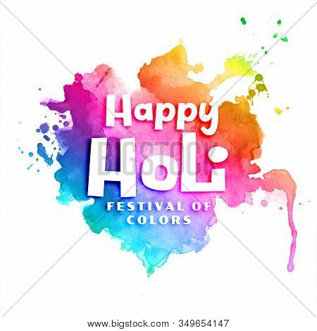 Happy Holi Colorful Watercolor Abstract Background Design