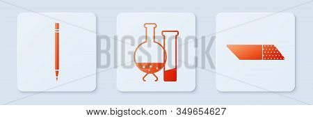 Set Test Tube And Flask Chemical Laboratory Test, Pencil With Eraser And Eraser Or Rubber. White Squ