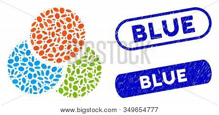 Mosaic Rgb Color Circles And Distressed Stamp Watermarks With Blue Text. Mosaic Vector Rgb Color Cir