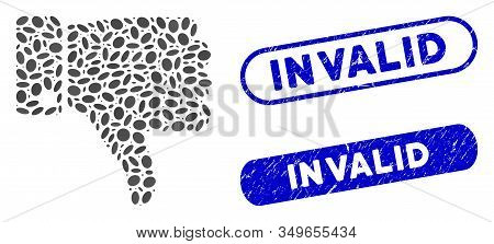 Mosaic Thumb Down And Grunge Stamp Seals With Invalid Caption. Mosaic Vector Thumb Down Is Formed Wi