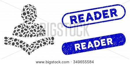 Mosaic Reader Boy And Corroded Stamp Seals With Reader Phrase. Mosaic Vector Reader Boy Is Designed